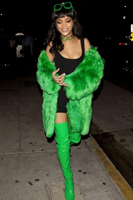Rihanna dress yellow fur
